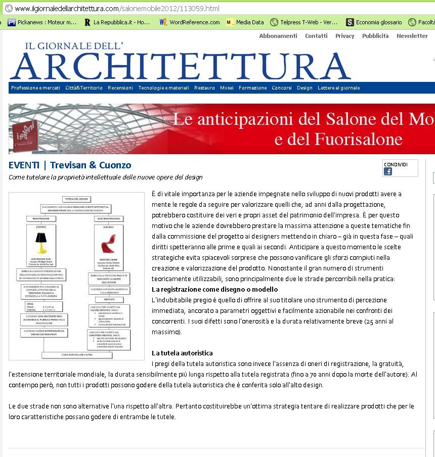 Press 2012 trevisan cuonzo for Giornale architettura